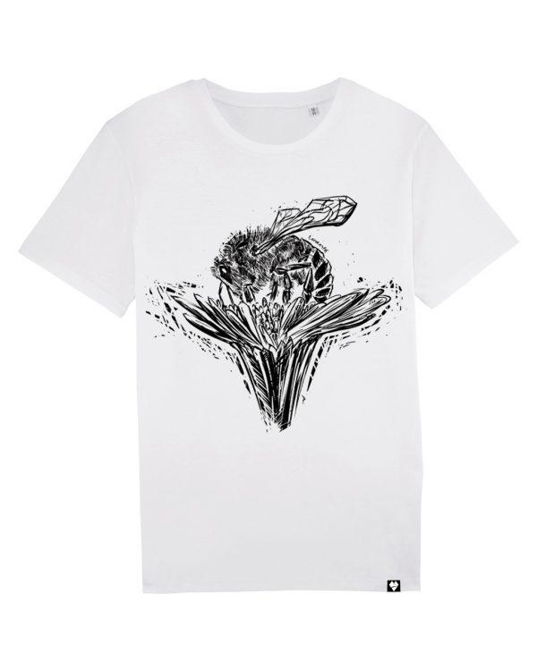 Biele organické tričko Včela