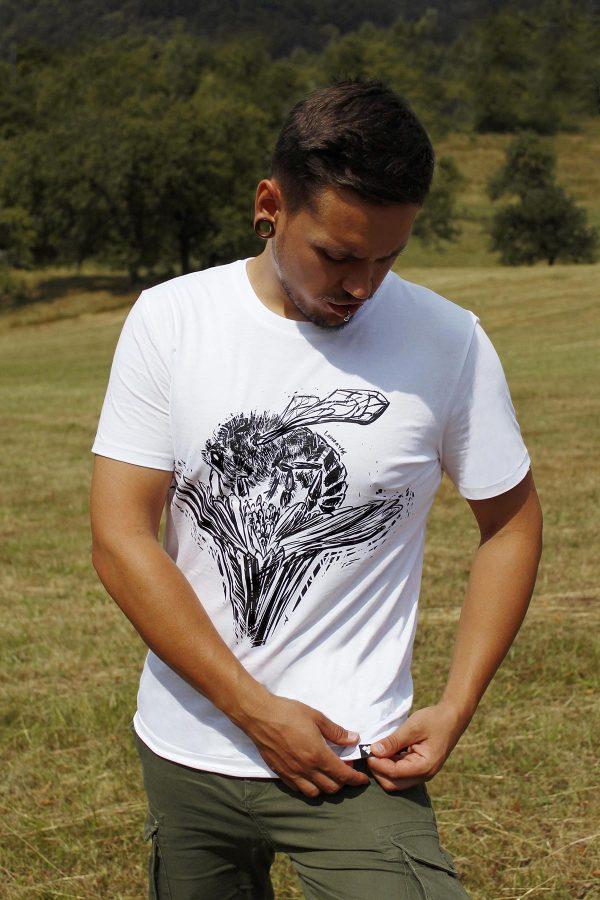 Unisex organické tričko Včela na kvete