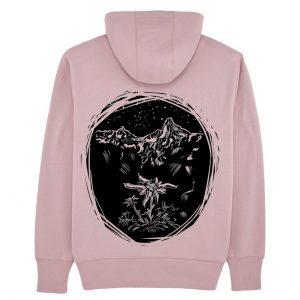 Ružová unisex mikina plesnivec a hory