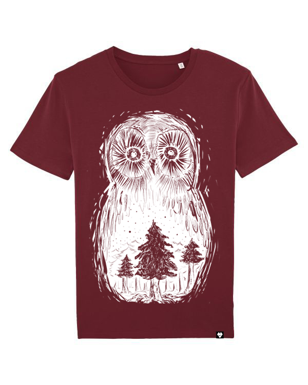 Lowearth unisex tričko sova lesná burgundy